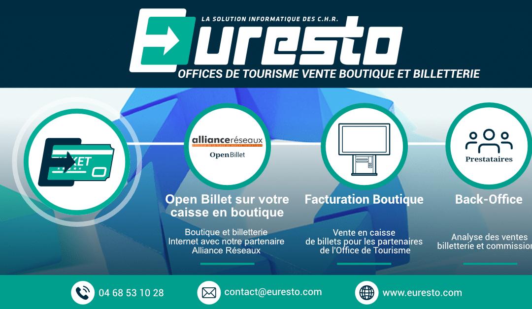 Euresto et Alliance Réseaux équipent les Offices de Tourisme ! Vente, boutique et billetterie.
