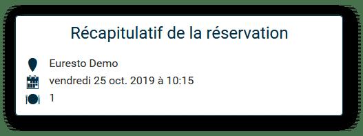 Récapitulatif réservation